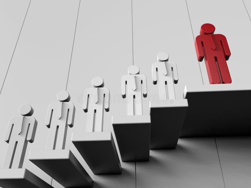 Coupes-circuit des employés et de patron sur des escaliers illustration libre de droits