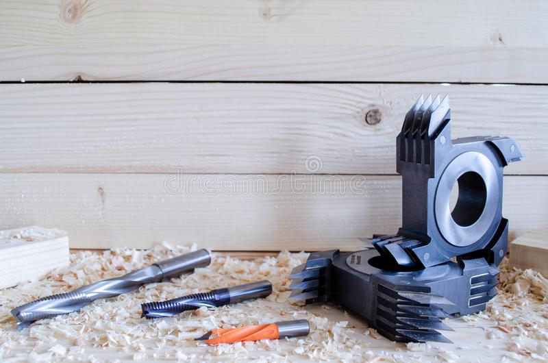 Coupeur commun de doigt de commande numérique par ordinateur pour le travail du bois industriy photographie stock libre de droits