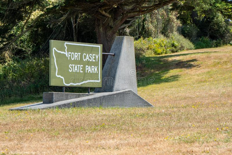 Coupeville, Washington - July 6, 2019: Sign for Fort Casey State Park on Whidbey Island. Park features an abandoned military base royalty free stock images