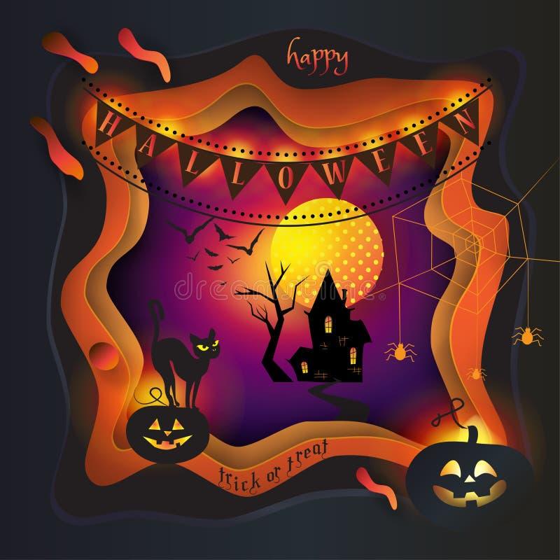 Coupez 3D de papier Art Halloween illustration libre de droits