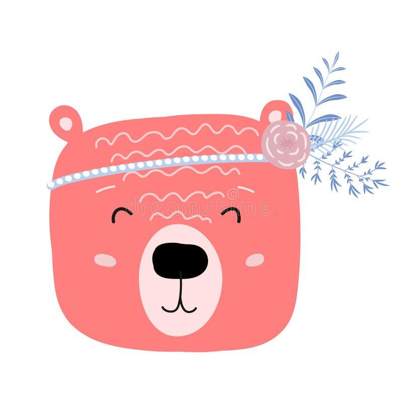 Coupez l'ours, caractère animal de bébé pour la copie d'enfant illustrations de griffonnage dans le style scandinave illustration stock