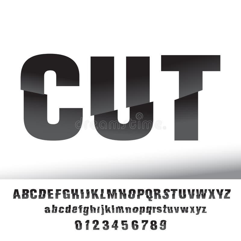 Coupez la conception de lettre d'effet illustration de vecteur