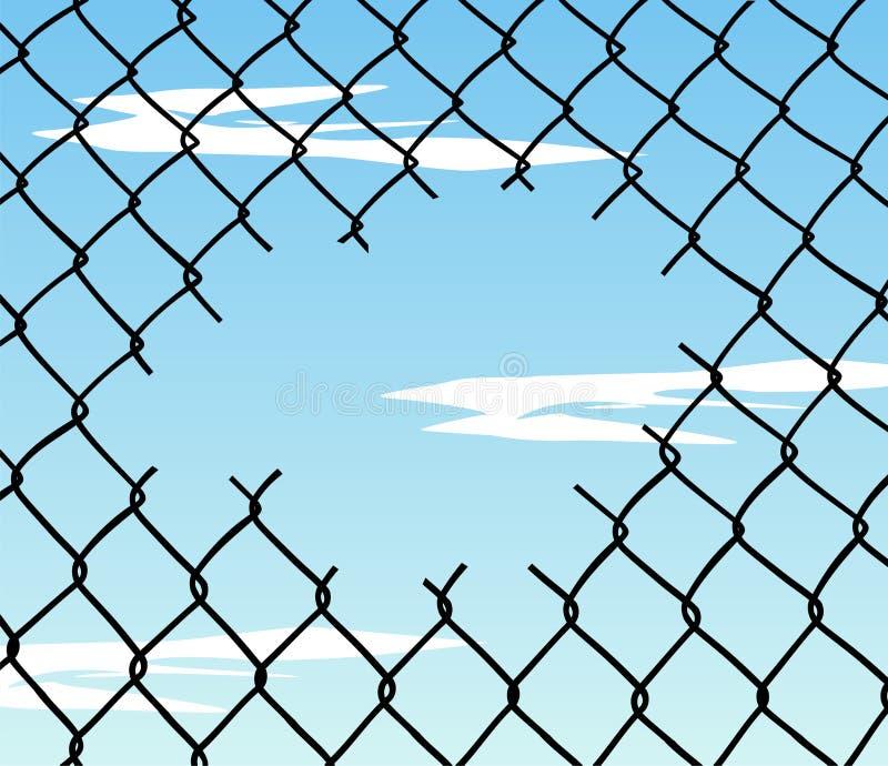 Coupez la frontière de sécurité de fil avec le fond de ciel bleu illustration de vecteur