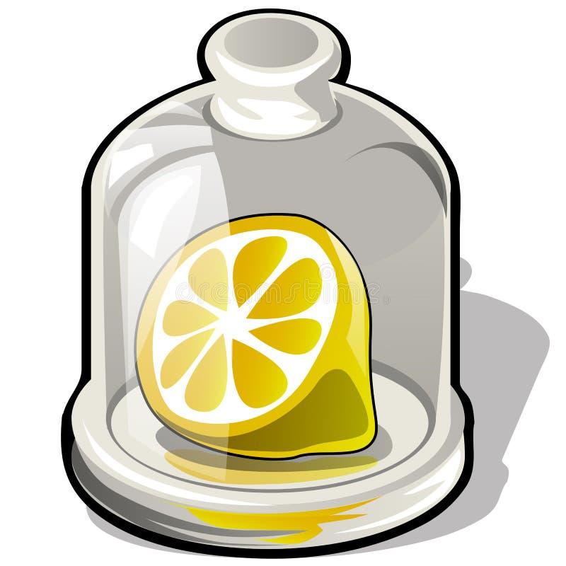 Coupez la moitié d'un citron frais sous un dôme en verre d'isolement sur le fond blanc Illustration de plan rapproché de bande de illustration de vecteur