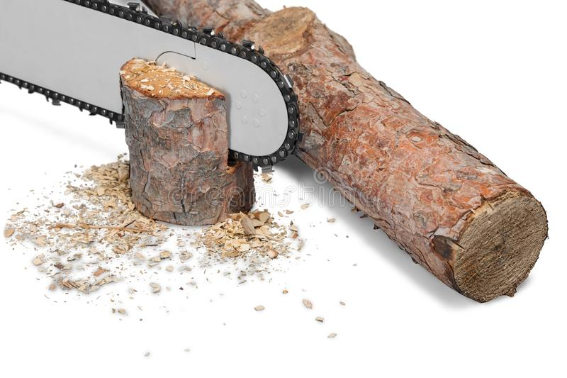 Coupez le bois et la tronçonneuse de feu de bois d'isolement sur le blanc image stock