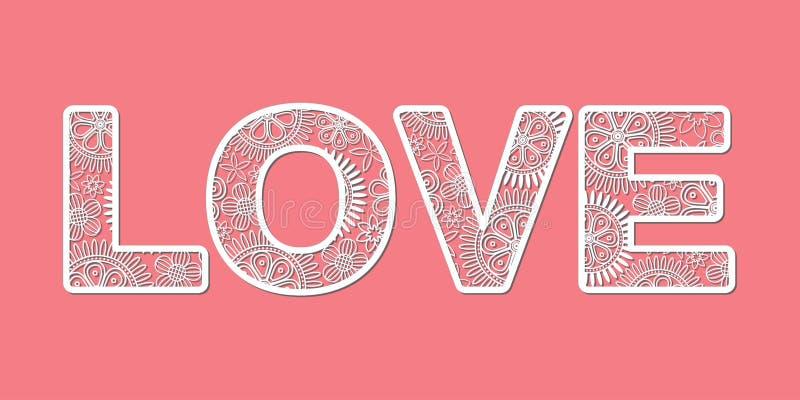 Coupez le mot floral blanc d'AMOUR sur le fond rose illustration stock