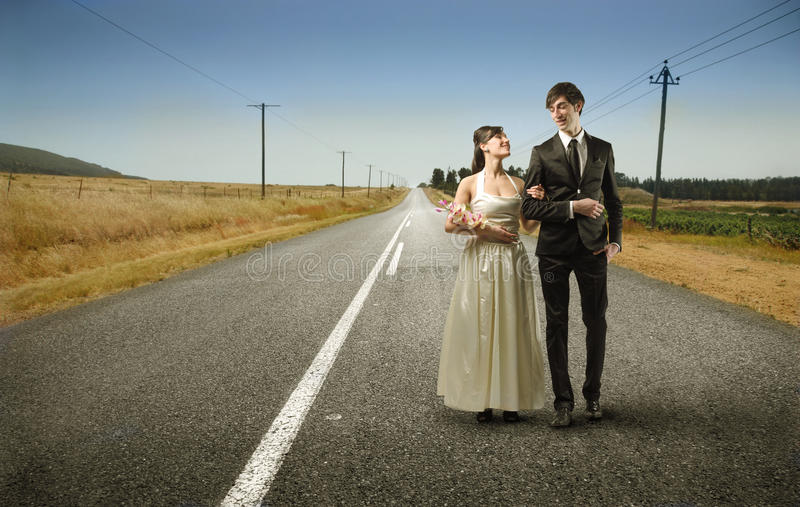 Download Couple stock photo. Image of happy, bride, street, woman - 13020132