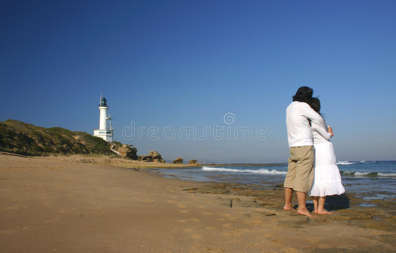 Couple. At Victoria Beach, Australia stock photo