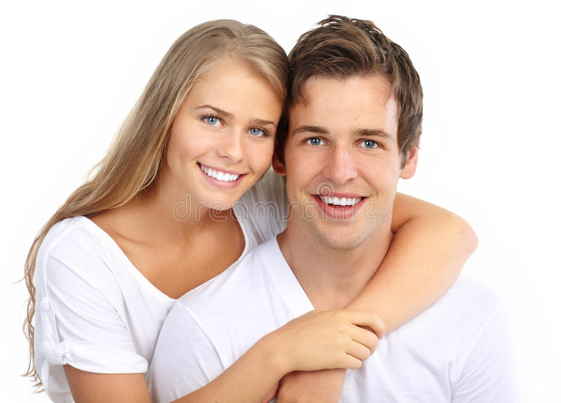 Couple. Happy smiling couple in love. Over white background