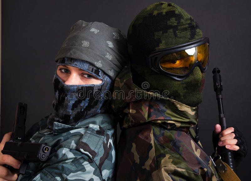 Download Couple stock image. Image of uniform, gangster, pistol - 17650431