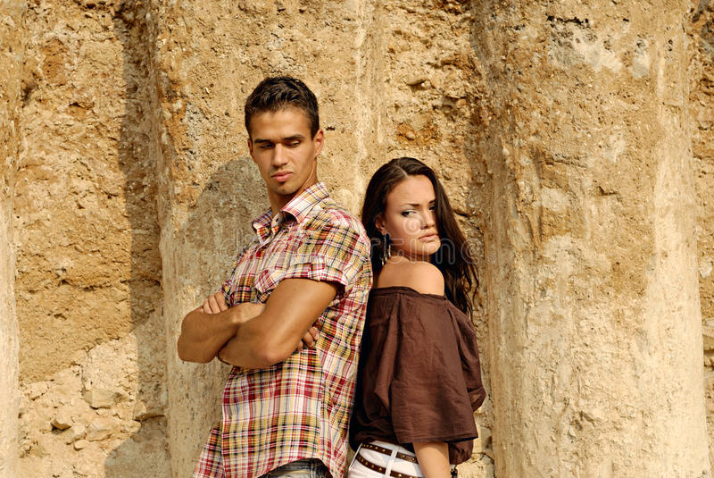 Couple. Beautiful young couple. different senses royalty free stock image