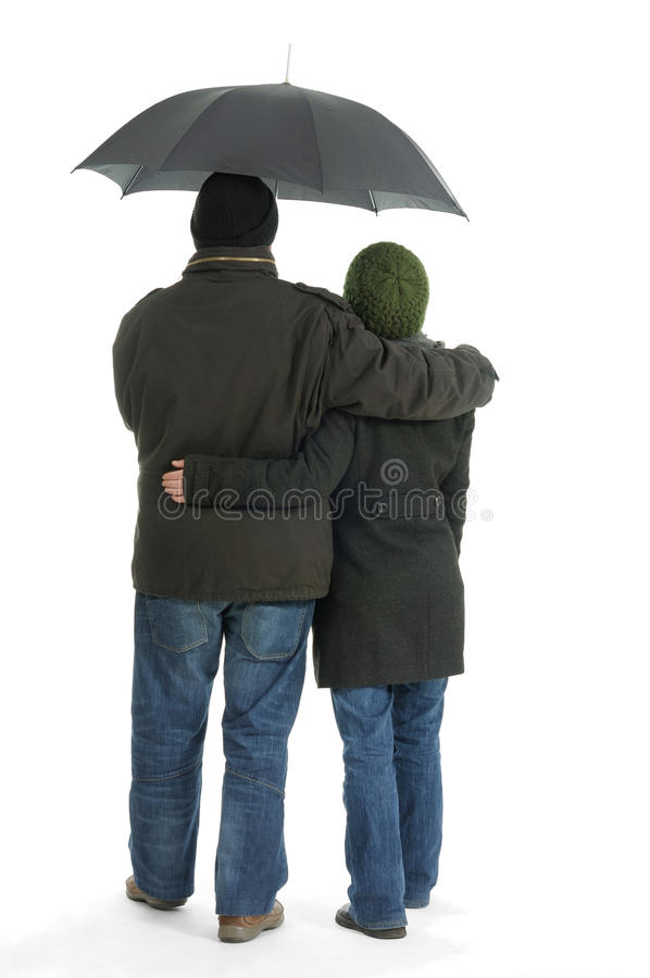 Download Couple stock photo. Image of embrace, winter, white, umbrella - 25327652