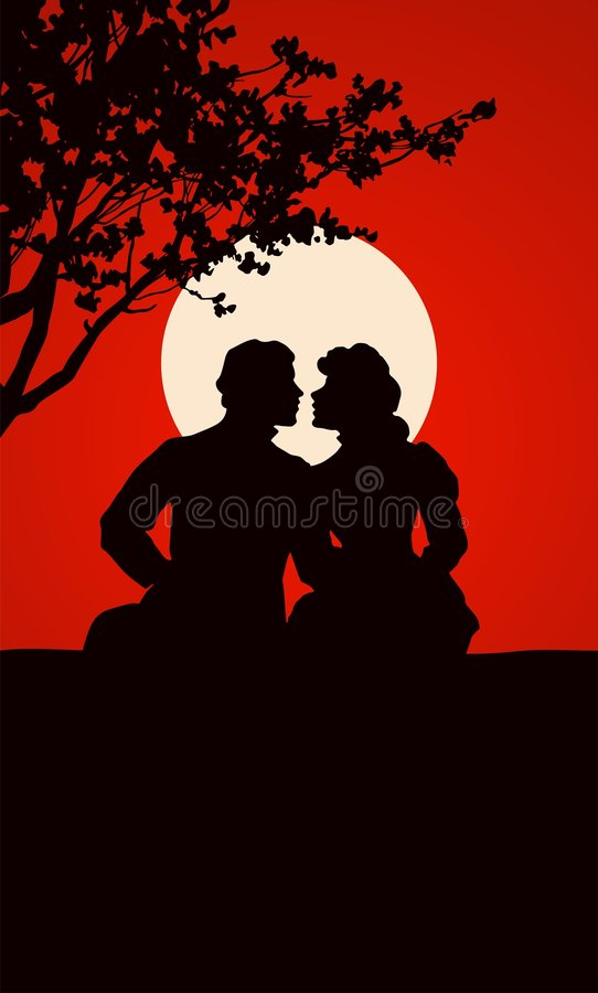 Couple. Sharp vector silhouette of couple royalty free illustration