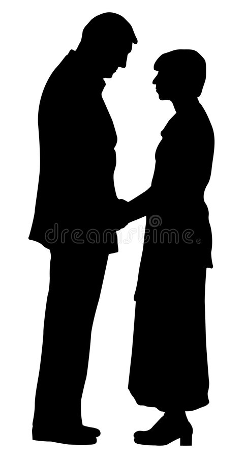 Couple. Silhouette of a couple on isolated white background. EPS file available stock illustration