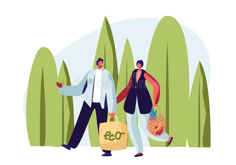 Couple of Adult Man and Woman Carrying Products in Paper and String Bags. Eco Package with Green Label, Natural Packing. Ecologically Safety Containers for stock illustration