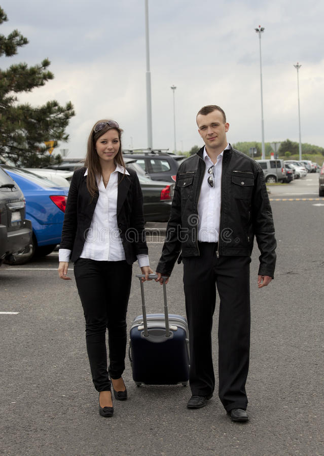 Couple At The Airport Stock Photo