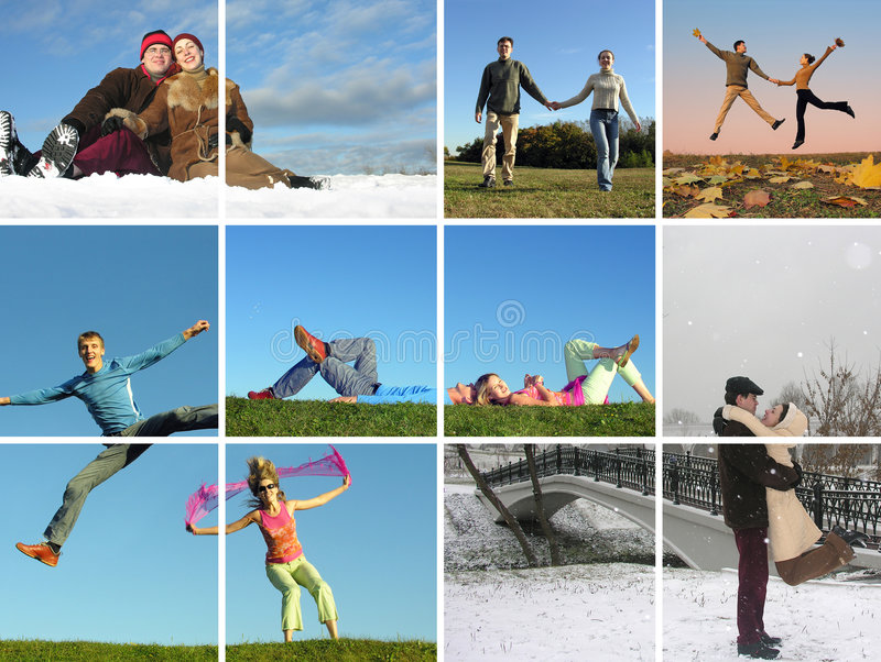 Couple All Around Year Stock Image