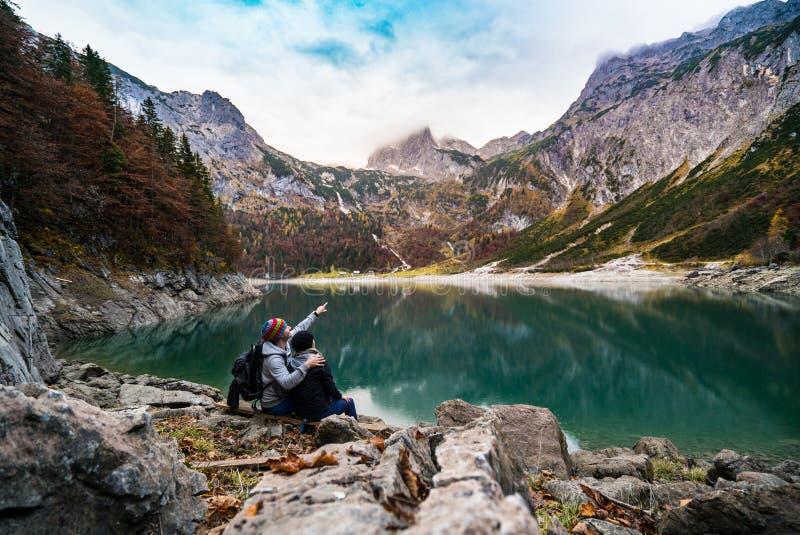 Couple On Alpine Lake Shore Free Public Domain Cc0 Image
