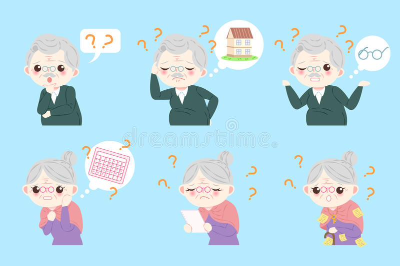Couple with Alzheimer disease royalty free illustration