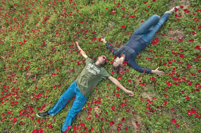 A Couple in Anemones Field. A couple in the blooming anemones field. The beauty of relations stock images