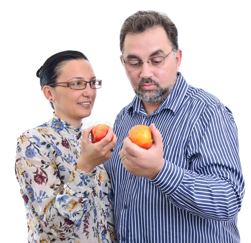Download Couple With Apples Starting Diet Stock Photo - Image: 17051828