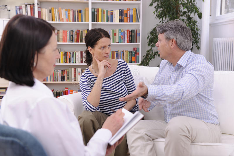 Couple arguing during therapy session