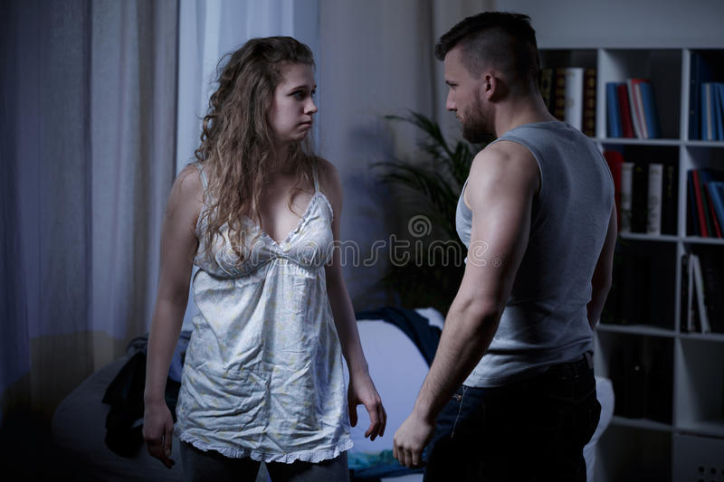 Couple after argument. Image of couple after argument and fight royalty free stock image