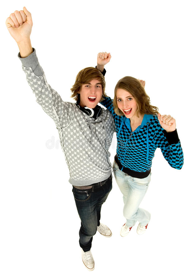 Couple With Arms Raised Royalty Free Stock Image