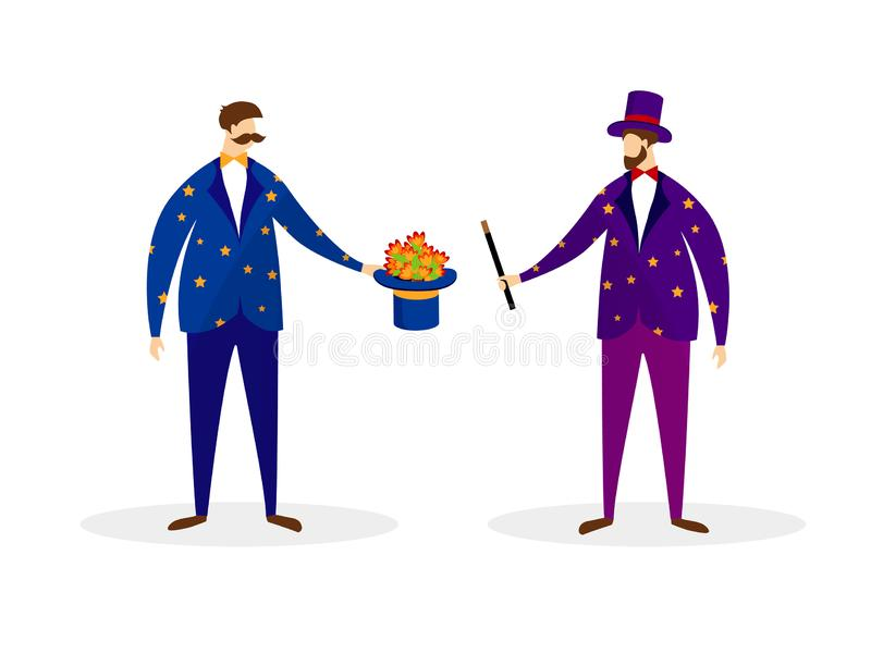 Couple of Artists Magicians Performing Magic Trick. Couple of Young Artists in Magician Dress Performing Magic Trick with Wand and Flowers Popping Up from Top vector illustration