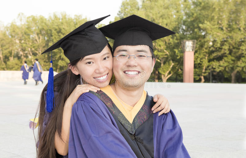 A couple of Asian graduates stock photo