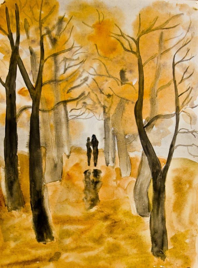 Couple on autumn alley, painting vector illustration