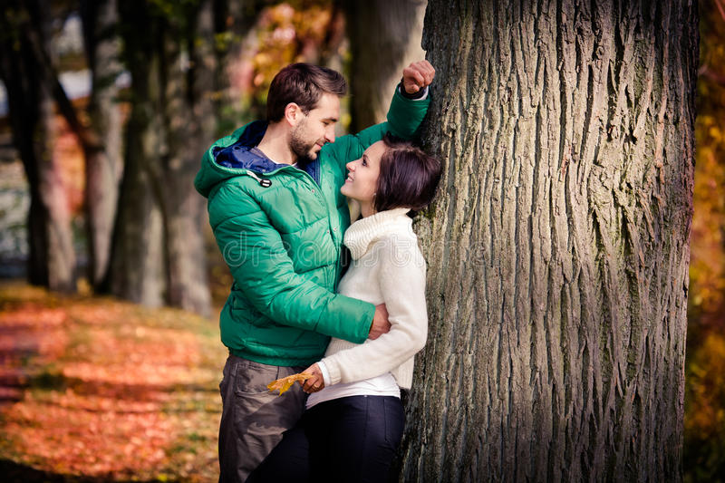 Download Couple in the autumn park stock image. Image of together - 27426331