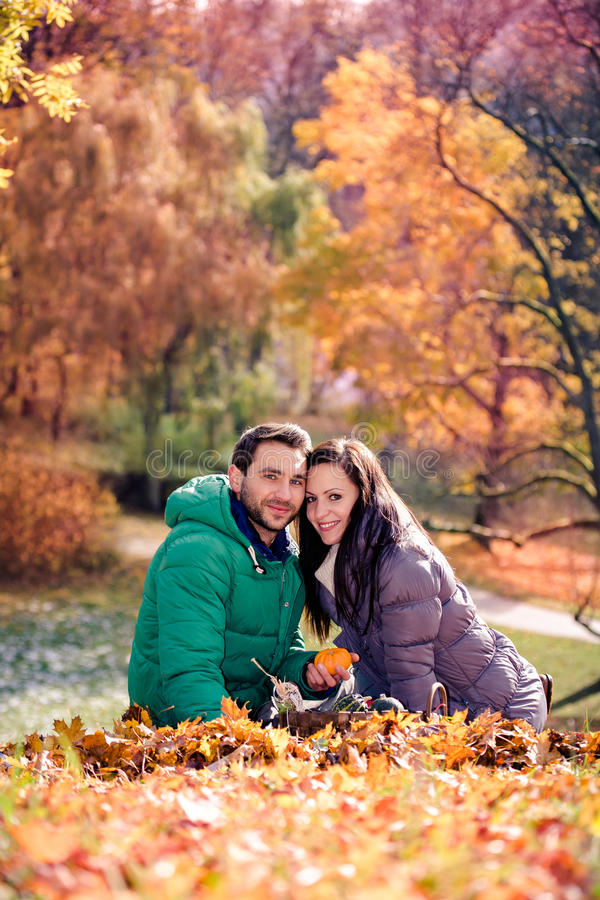 Couple In The Autumn Park Stock Images