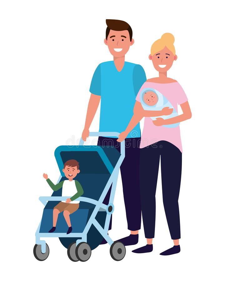 Couple with baby carriage royalty free illustration