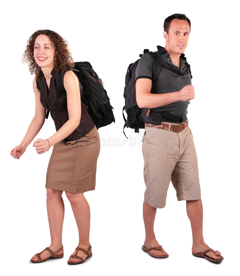 Download Couple with backpacks stock photo. Image of portrait, female - 5720580