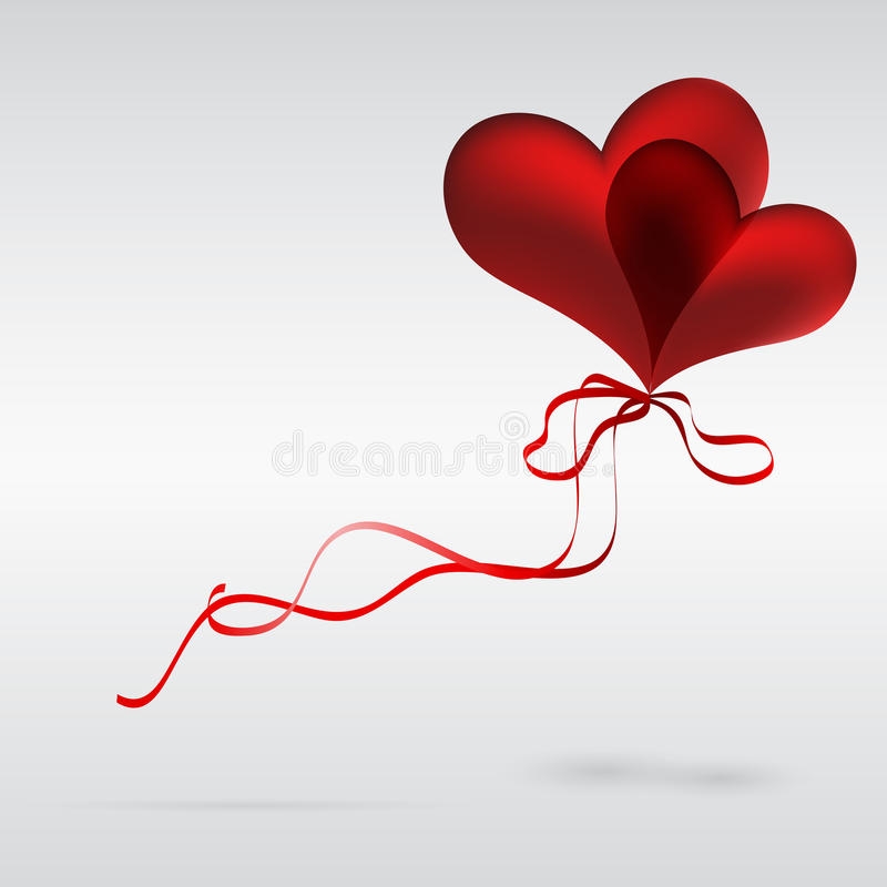 Couple of balloons in the shape of a heart. stock photography