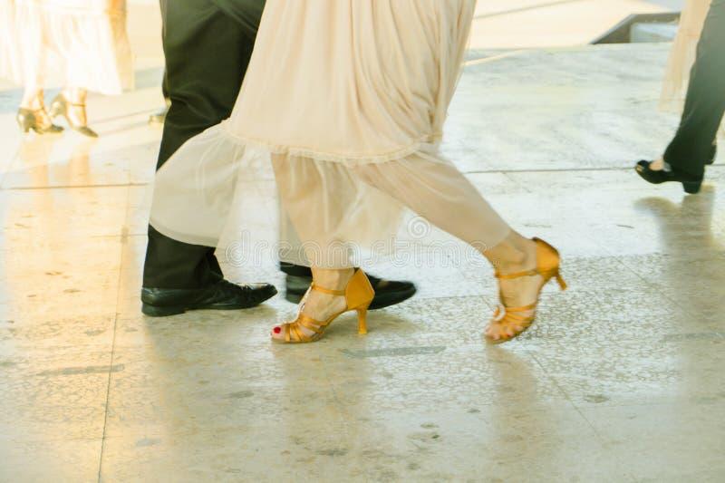 Couple of ballroom dancers dancing. On a dance floor stock photo