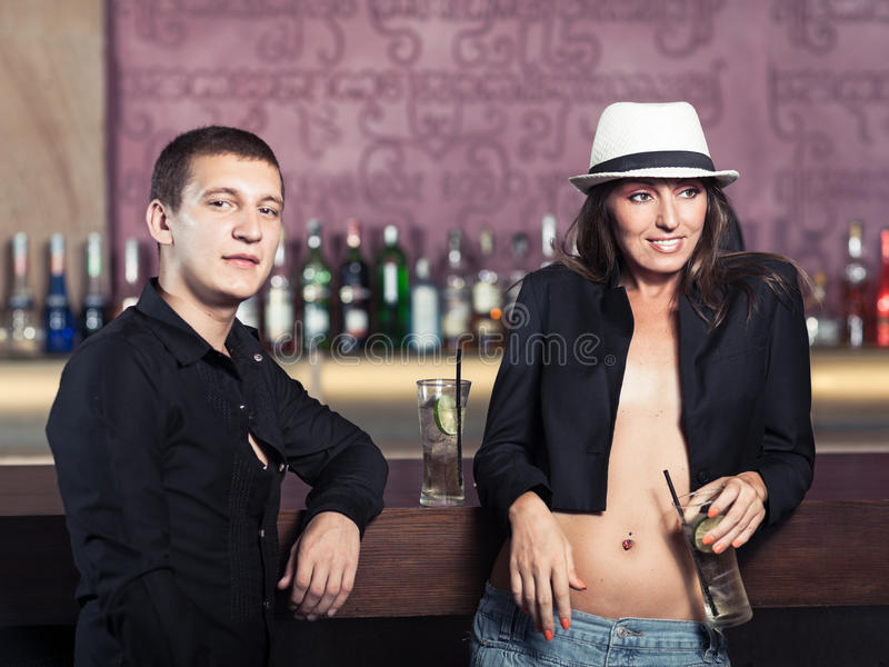Couple in the bar royalty free stock photo