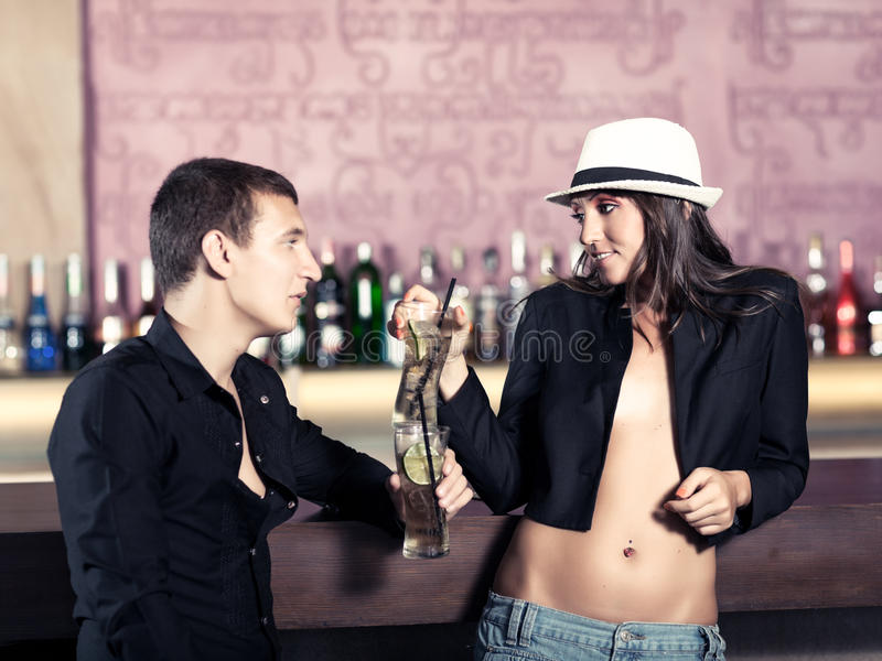 Couple in the bar royalty free stock photos