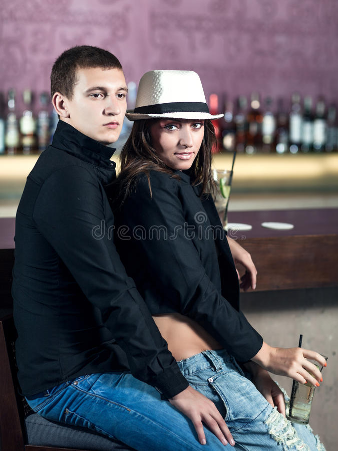 Download Couple in the bar stock image. Image of bottles, nightlife - 24859973