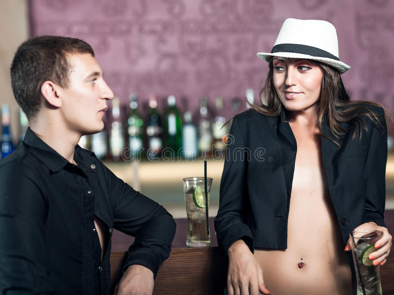 Couple in the bar stock photos