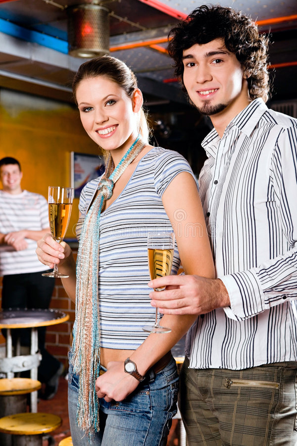 Couple in a bar stock photo