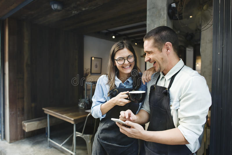 Couple Barista Coffee Shop Service Restaurant Concept royalty free stock photography