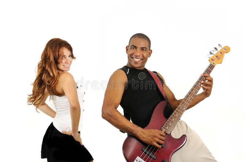 Couple of bass player and dancer stock image