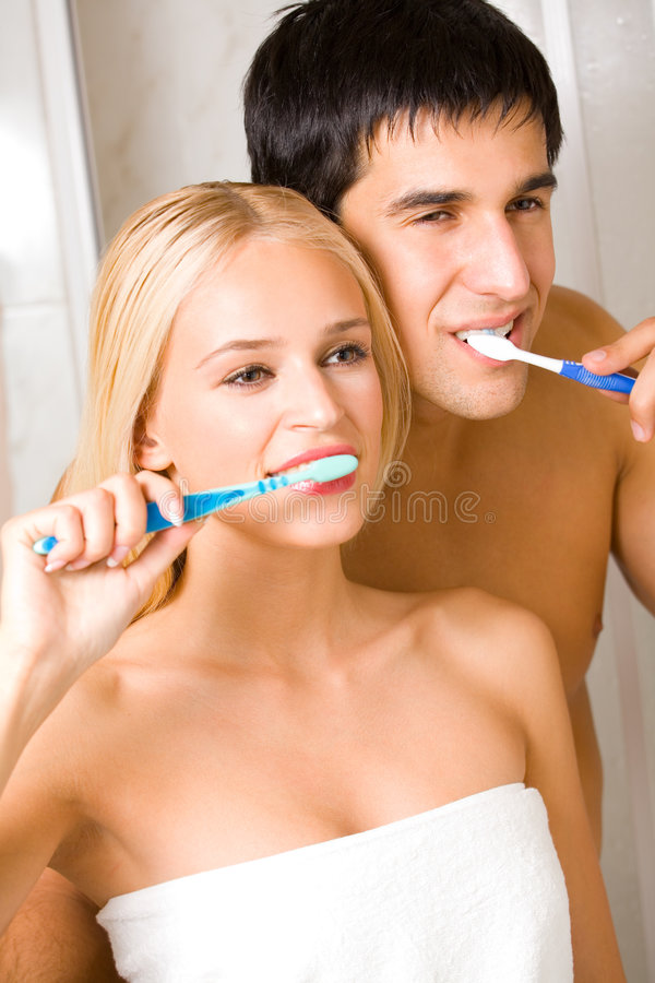 Couple at bathroom royalty free stock photos