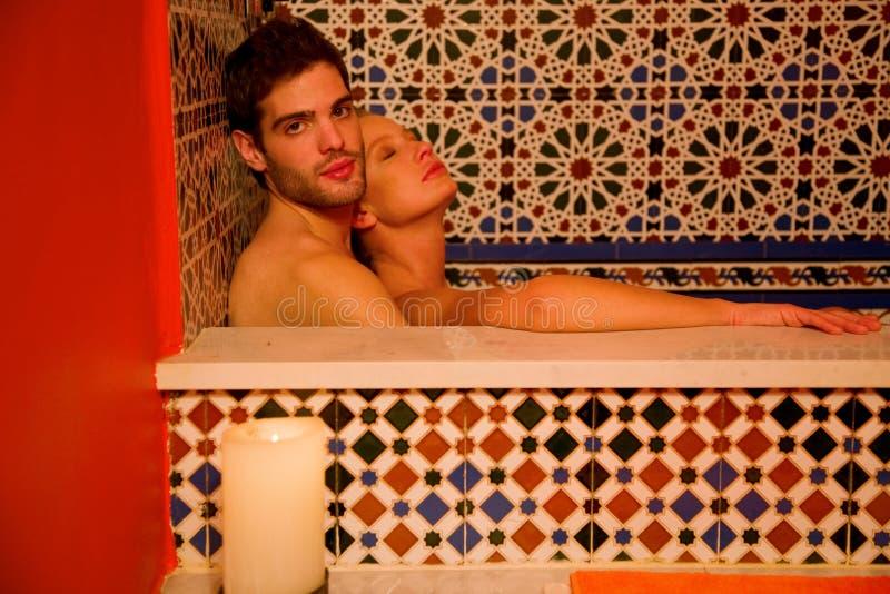 Couple in the bathtube royalty free stock photos