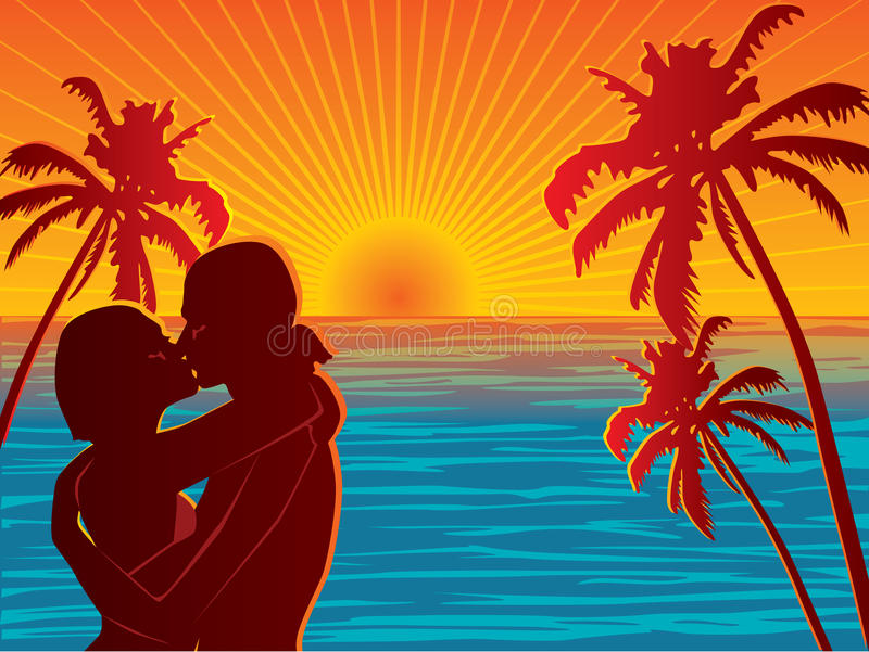 Couple on beach royalty free illustration