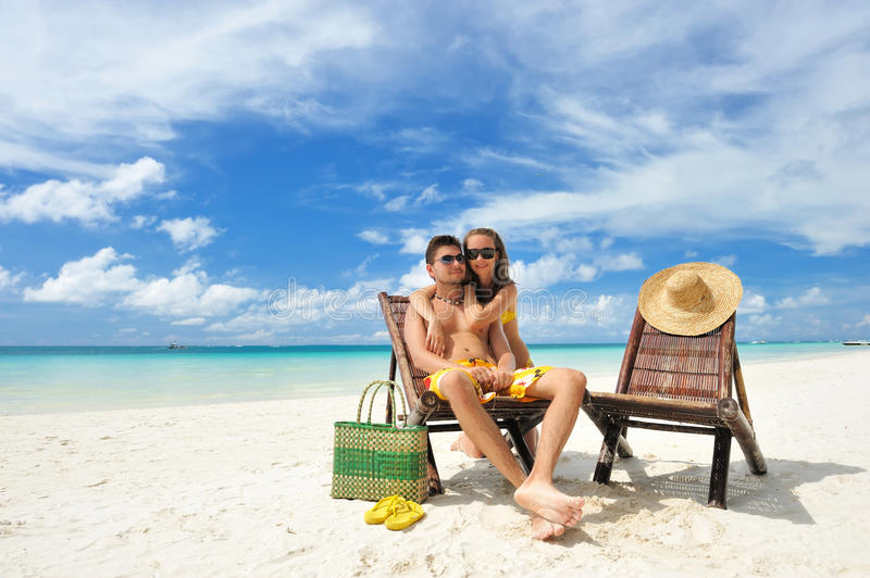 Download Couple on a beach stock photo. Image of flipflop, couple - 19000482