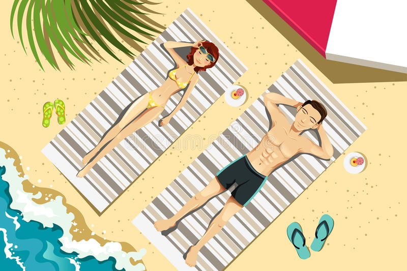 Couple on the beach stock illustration