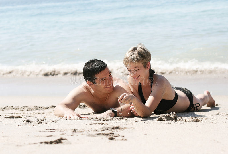 Download Couple on the beach stock image. Image of enjoying, bikini - 372629